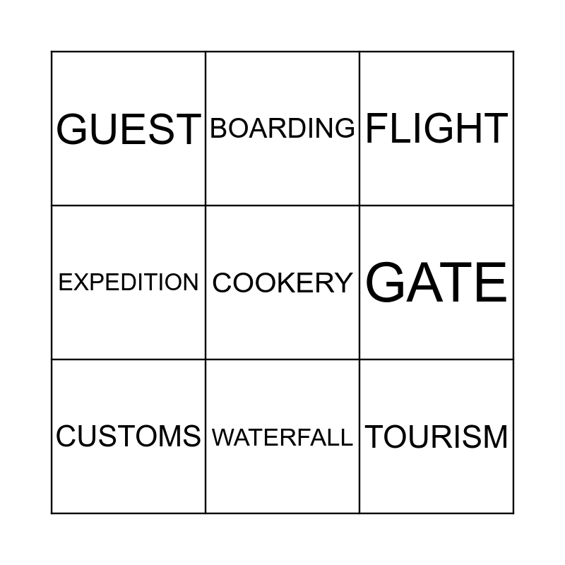Travelling Bingo Card