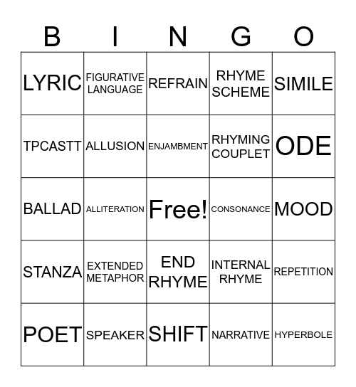 POETRY TERMS Bingo Card
