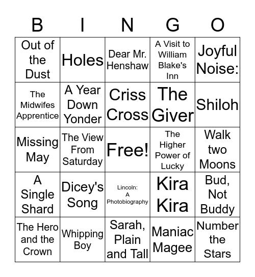 Newberry Medal Winners Bingo Card