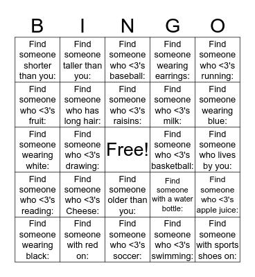 Choices Bingo Card