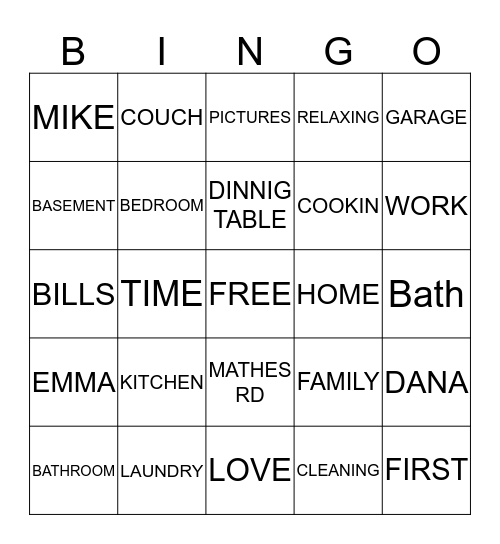 HOME  Bingo Card