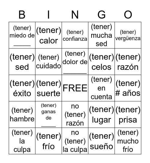 Idioms with Tener Bingo Card
