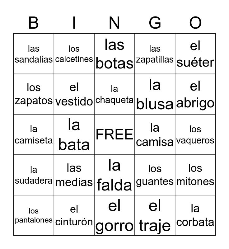 Clothing Bingo Card