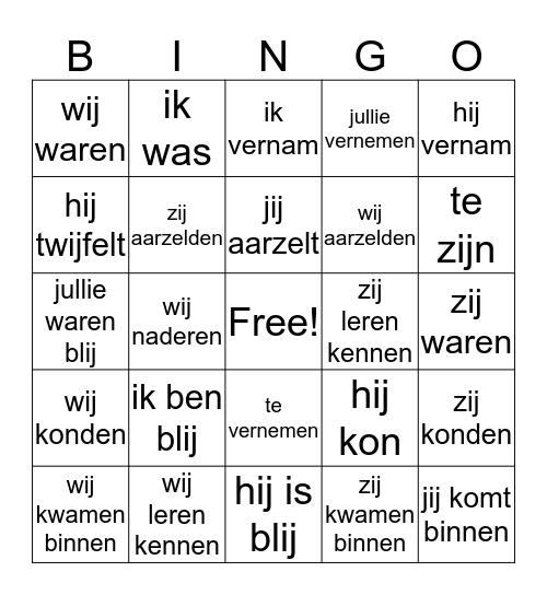 Minerva 5A Bingo Card