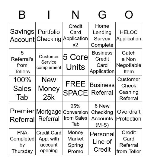BINGO FOR BANKING SUNNYSLOPE STYLE Bingo Card