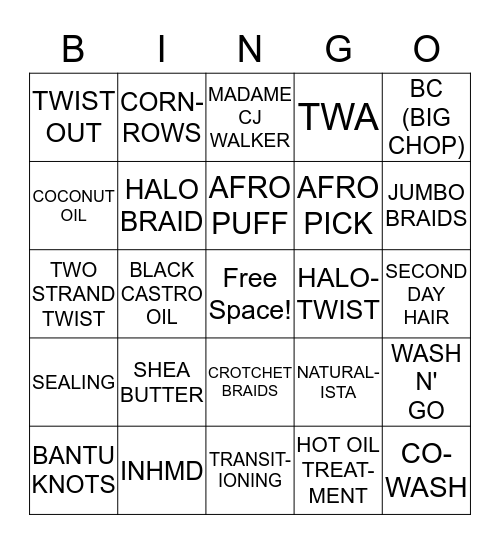 Hair Esteem Internatural Bingo Card
