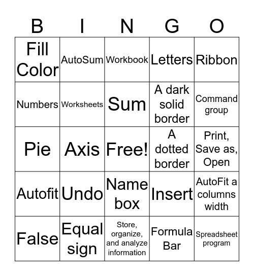 Excel Unit Test Bingo Card
