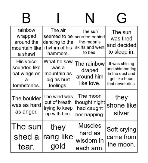 Figurative Language Bingo Card