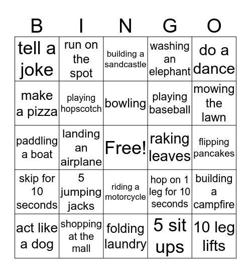 Action bingo Card