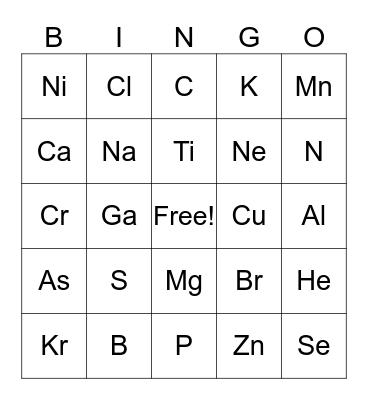 Chemistry Bingo Card