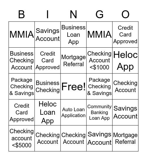Banking Center 65 Bingo Card