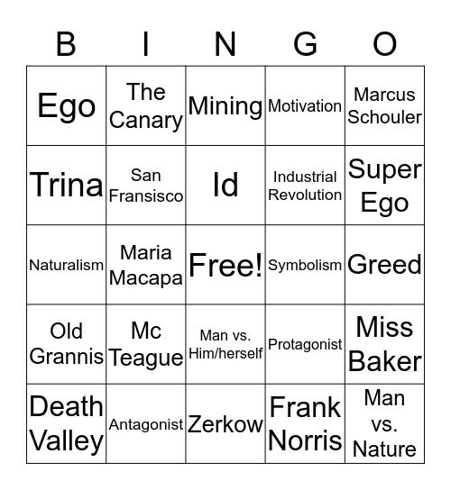 Mc Teague Bingo Card