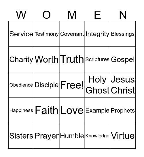 GENERAL WOMEN'S BROADCAST MARCH 2016 Bingo Card