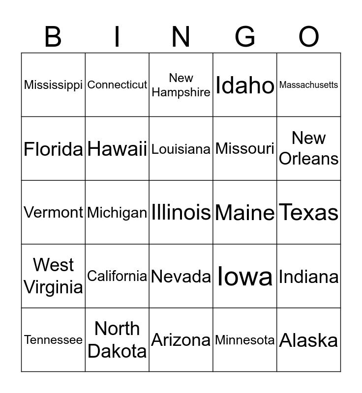 STATES Bingo Card
