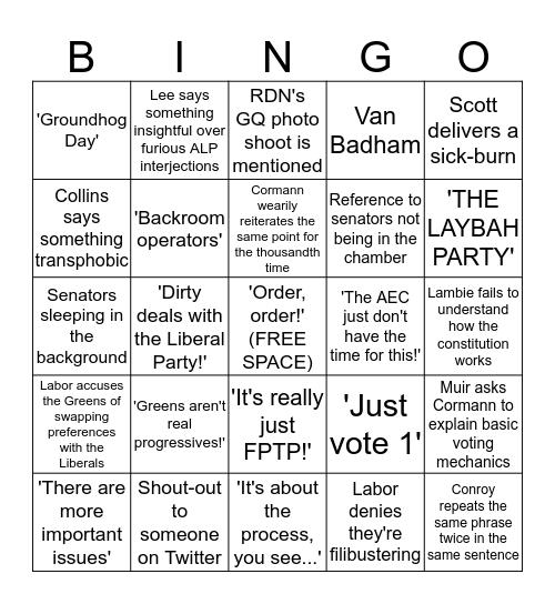 Senate Voting Reform Debate Bingo Card
