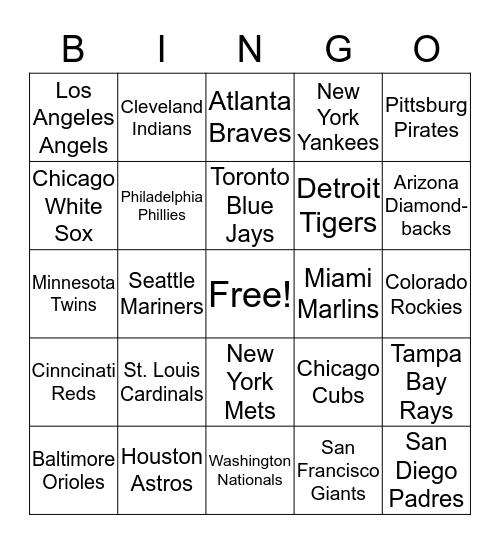 Baseball Team Bingo Card