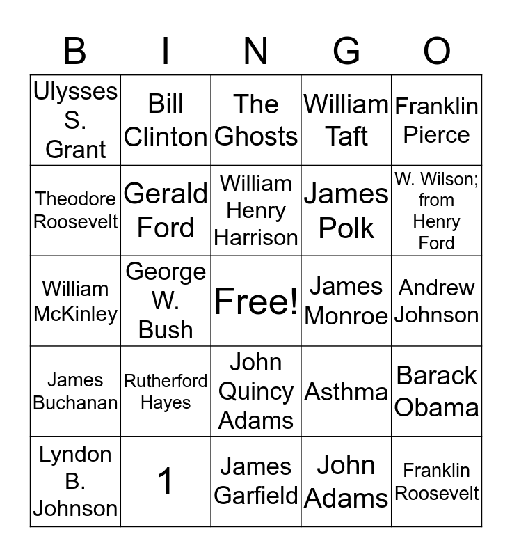 Presidential Bingo Card