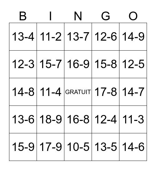Soustraction Bingo Card