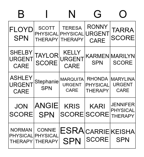 St. Anthony North Fall into Spring Pot Luck Bingo Card