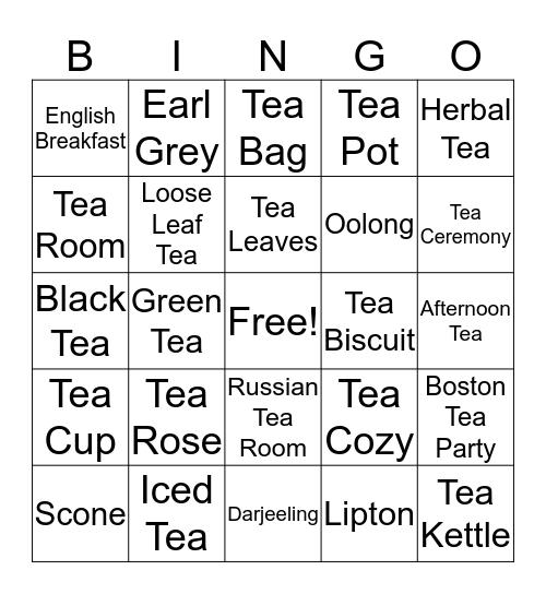 Tea 4 You & Me Bingo Card