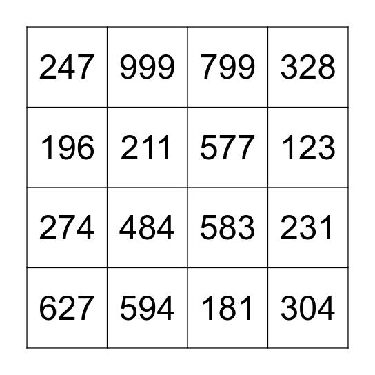 getallenbingo / bingo des chiffres Bingo Card