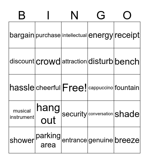 HANGING OUT Bingo Card