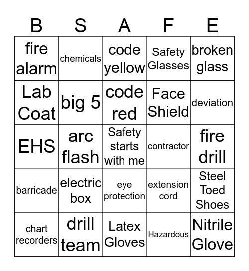 PPE Bingo Card