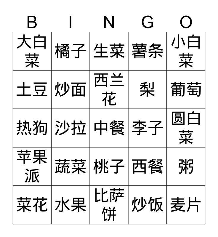 蔬菜水果 Bingo Card