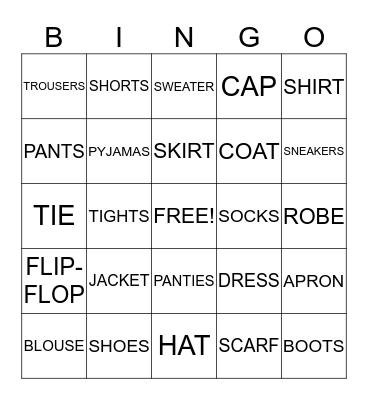 Clothes Bingo Card