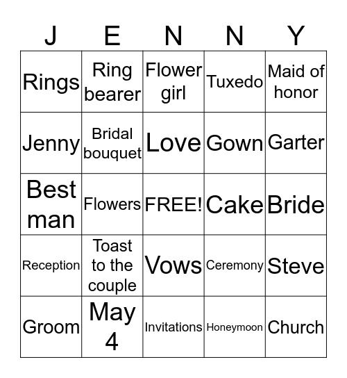 WEDDING BINGO FOR Bingo Card
