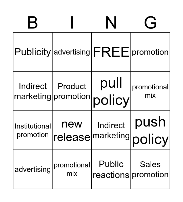 promotion and promotional mix Bingo Card