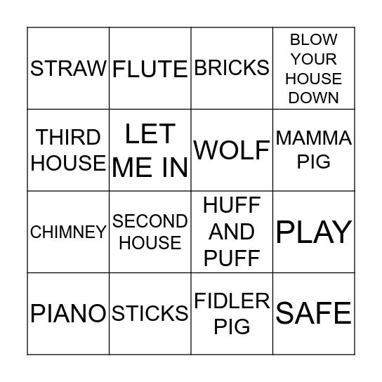 THE THREE LITTLE PIGS Bingo Card