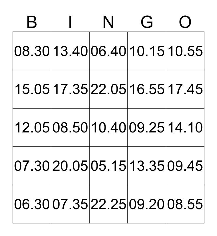 Digitaal Klokkijken Bingo Card