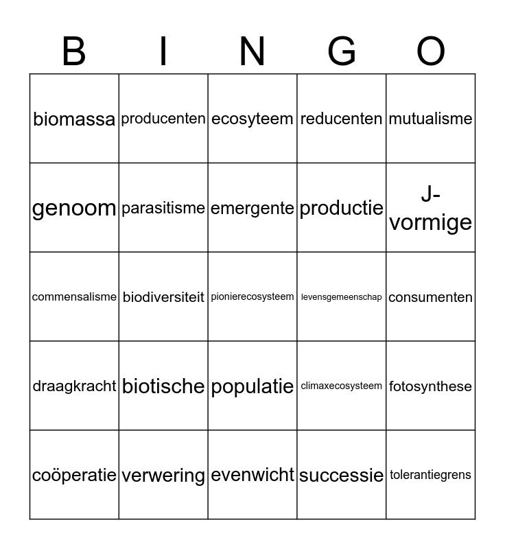 Ecologiebingo Card