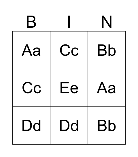 A B C Bingo Card