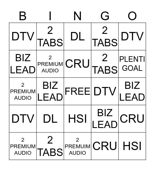 The Factory Bingo Card