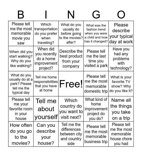 OPIc Bingo Card