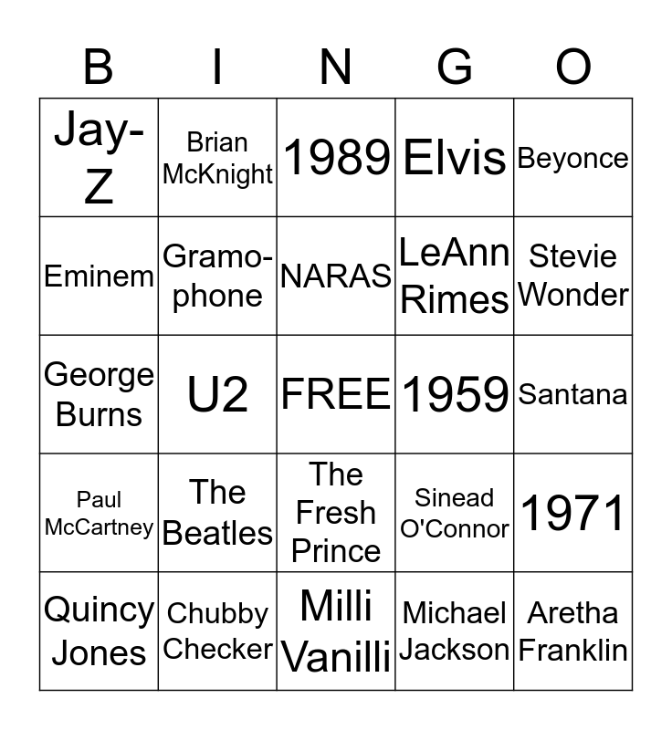 GRAMMY  Bingo Card