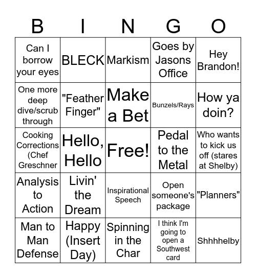 MG Bingo Card