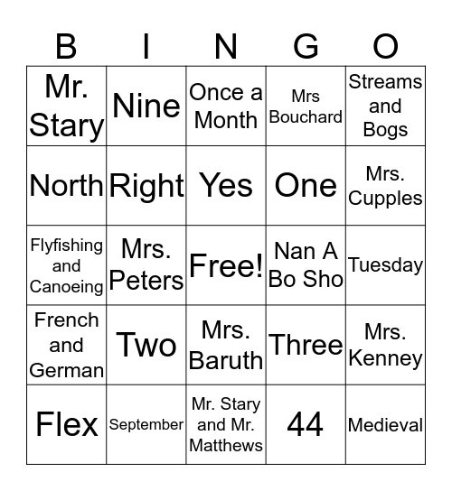 Getting Ready for 6th Grade Bingo Card