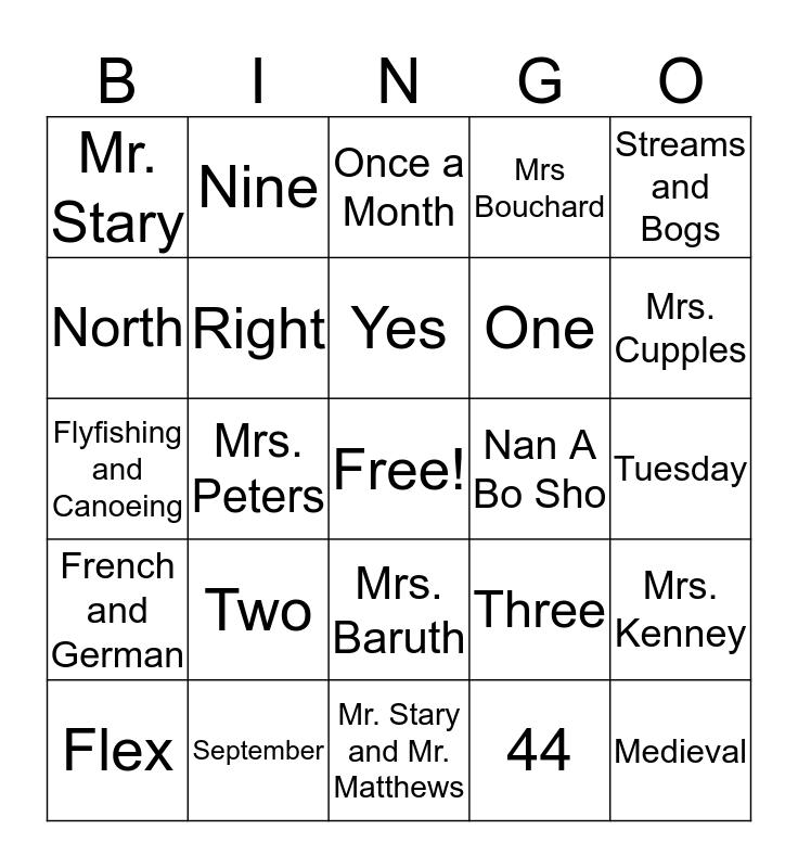 Getting Ready for 6th Grade Bingo Card
