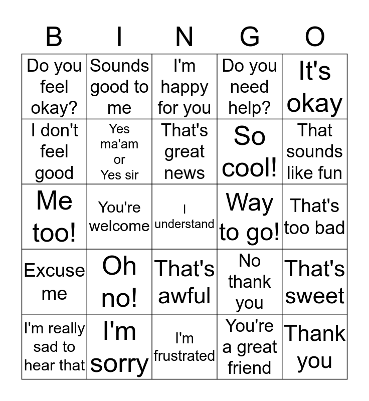 Appropriate Response BINGO Card