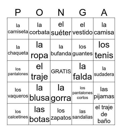 La Ropa Bingo Card