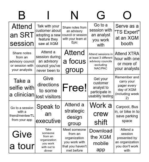 XGM Bingo Card