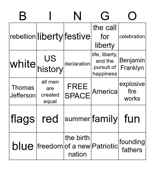 4th of July! Bingo Card