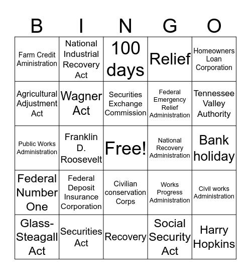 The New Deal (1 & 2) Bingo Card