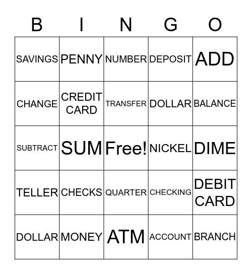 MY BANK ACCOUNT Bingo Card