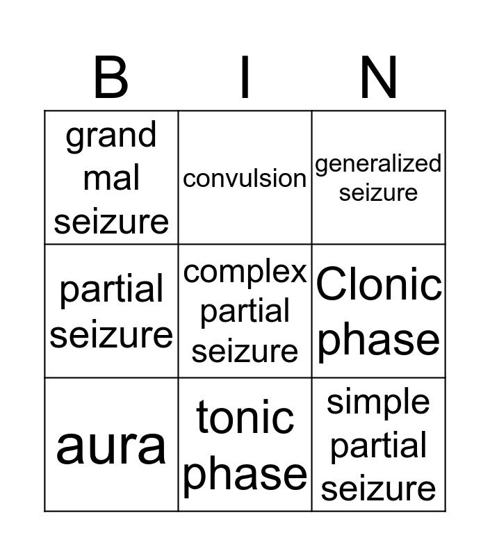 seizures Bingo Card