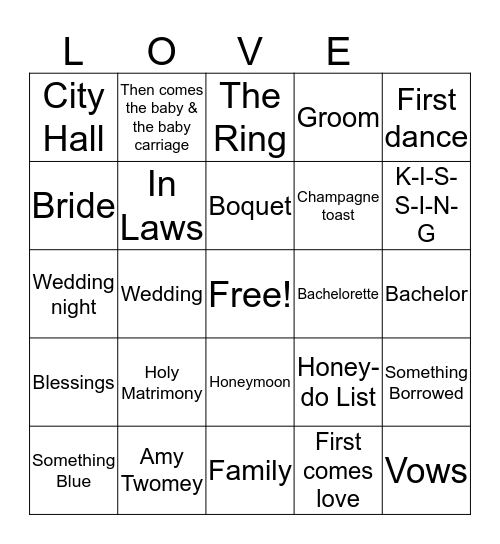 Amy's Bridal Bingo Card