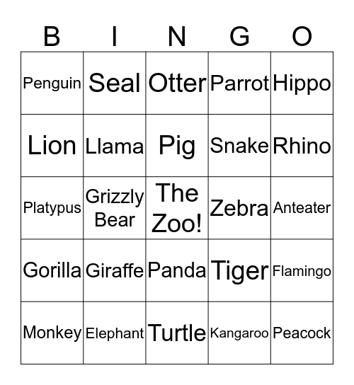 Welcome to the Zoo Bingo Card